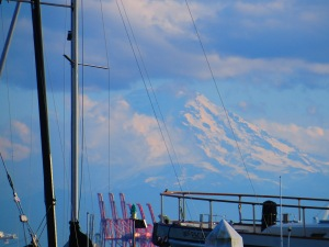 Tahoma from a sail boat on the Salish Sea.